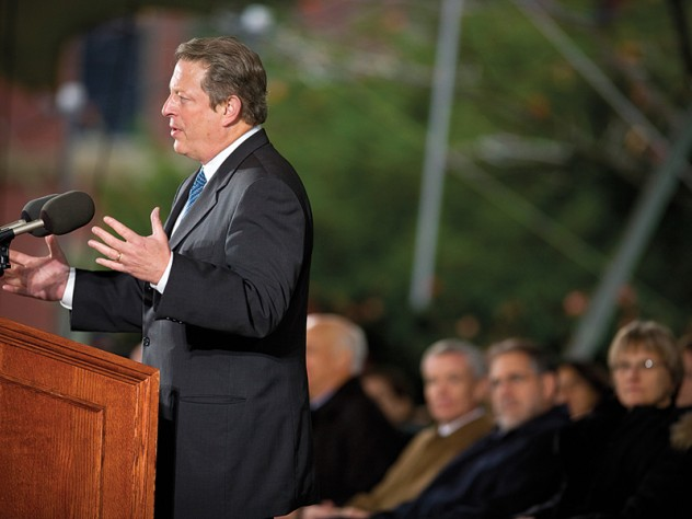"""AL GORE '69, LL.D. '94, filled Tercentenary Theatre on October 22 when he spoke about sustainability. Noting that the impressive turnout on a raw fall day—free soup, cider, and apple crisp notwithstanding—indicated """"deep and broad commitment to addressing this issue,"""" Gore said, """"There is an African proverb that says, 'If you want to go quickly, go alone. If you want to go far, go together.' We have to go far, quickly."""""""