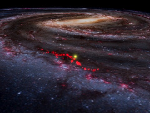 Red dots represent the Radcliffe Wave, superimposed here on an artist's rendering of the Milky Way as it appears in a screen shot taken from WorldWide Telescope.