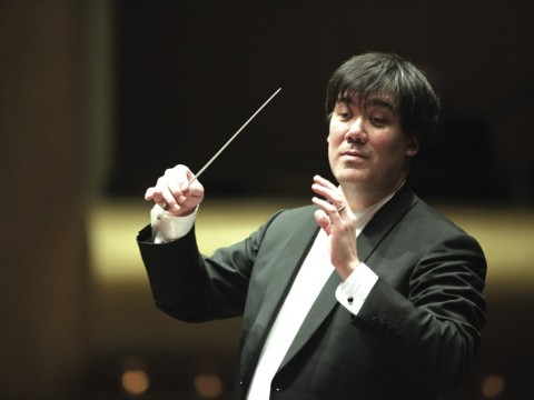 Alan Gilbert conducting the New York Philharmonic at Avery Fisher Hall in Lincoln Center