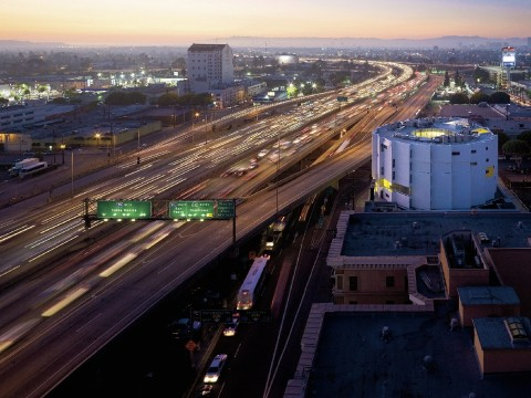 Michael Maltzan Architecture's New Carver Apartments stands out against the busy Santa Monica Freeway.