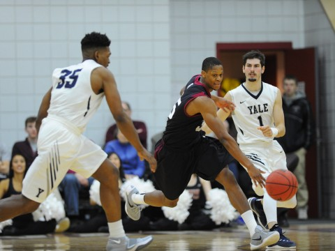 Agunwa Okolie '16, the team's top perimeter defender, has developed into a potent offensive threat, giving the Crimson hope that it can close out the 2015-2016 season on a winning note.