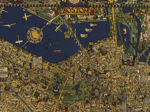 A bright and colorful historical map of Boston with details of streets, buildings, and green spaces
