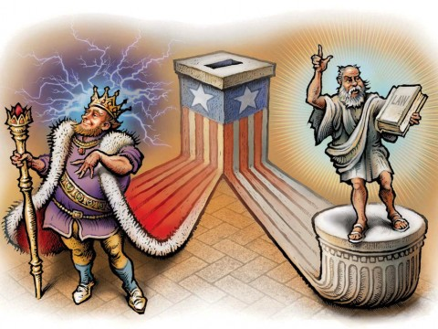 Flanking a ballot box are a monarch on the left and a senator holding a book of law on the right.
