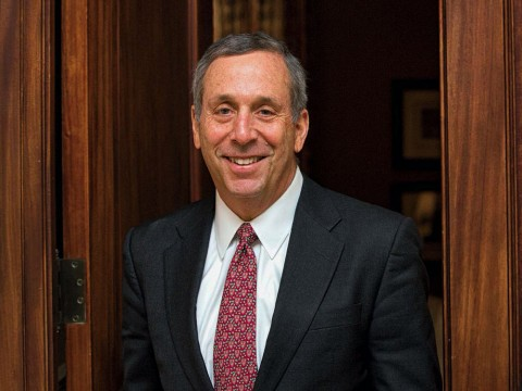 Portrait photograph of Harvard president Lawrence S. Bacow
