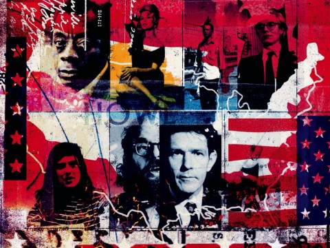 A collage of emblematic figures in American history set against the Stars and Stripes