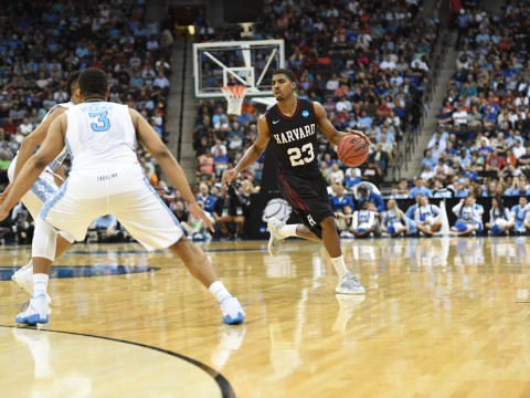 In his final game, Wesley Saunders '15 scored 26 points, dished out five assists, and grabbed four rebounds against the Tar Heels—one of the best performances in Harvard men's basketball history.