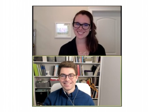 Headshot portraits of Harvard Law School students Anna Vande Velde and William Roberts