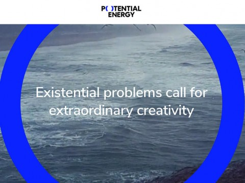 The homepage of the nonprofit Potential Energy Coalition, showing a blue circle superimposed on a black-and-white photograph of the ocean