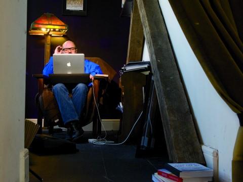 "Andrew Sullivan in his ""blog cave"""