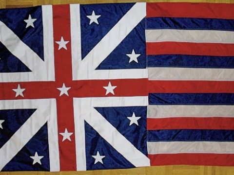 A replica of what may be the earliest known version of the American flag to include stars