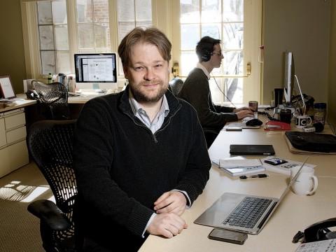 Joshua Benton in the newsroom of the Nieman Journalism Lab