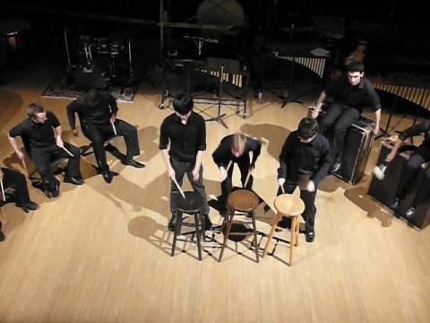 """THUD members perform """"Conchairto for Stools"""" at the fall 2011 concert."""