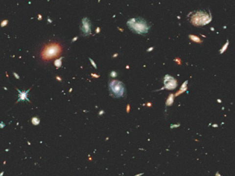 A Hubble Space Telescope image of galaxies 3 billion to 11 billion light years distant.