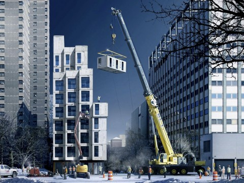 Compact apartments are proliferating in the United States. Here, artist's renderings show how the MMNY micro-units, prefabricated in the Brooklyn Navy Yard and shipped to the East 27th Street building site, will be stacked atop each other like Lego bricks.