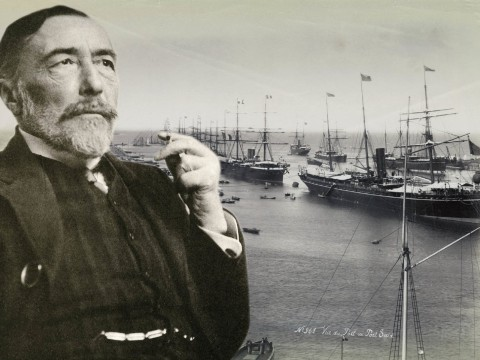 Joseph Conrad in 1916. In the background, ships entering the Suez Canal, circa 1888-90: harbingers of globalization