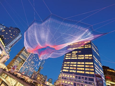 <i>Skies Painted With</i> <i>Unnumbered Sparks</i> (2014), in Vancouver, allowed viewers to choreograph its lighting using their mobile devices.