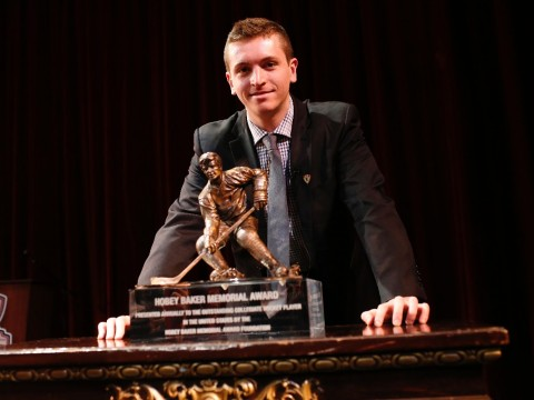 A finalist for the second year in a row, Jimmy Vesey won this year's Hobey Baker Memorial Award.