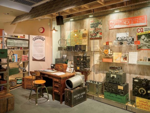 """First of four photographs showing the """"Radio Contact"""" exhibit at Harvard's Collection of Historical Scientific Instruments"""