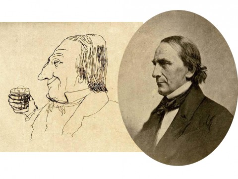 Harvard president James Walker, in caricature and in the flesh