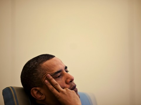 Barack Obama listening to his advisors, in the Oval Office, April 2010.