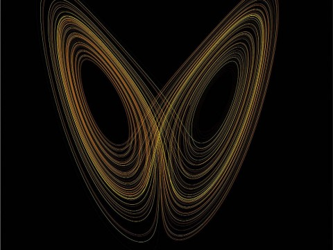 "A stylized plot of Lorenz's ""butterfly effect"" model against a black background with gold-toned curves wrapping themselves around unshown x and y axes, resembling the wings of a butterfly"