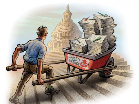 Illustration of a man pushing a wheelbarrow full of petitions up the steps to Congress.