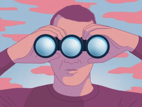 Illustration of a man looking through a pair of binoculars with three, not two, objective lenses