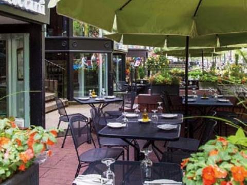 A photograph of Piattini's sunken patio in Boston