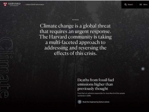 Screen shot of Harvard University home page featuring climate-change stories