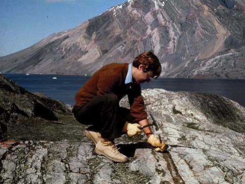 Photograph of earth scientist Andrew Knoll at work in the field