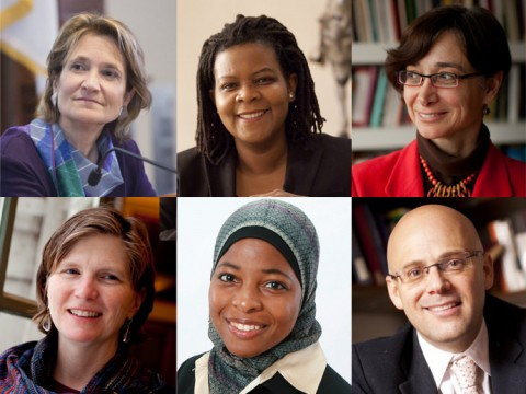Top row from left: Christine A. Desan, Annette Gordon-Reed, and Tamar Herzog. Second row from left: Mary Lewis, Intisar A. Rabb, Daniel Ziblatt