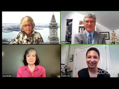 Screenshot of the four speakers: Margaret Marshall, Tom Putnam, Danielle Allen, and Jane Mendillo.