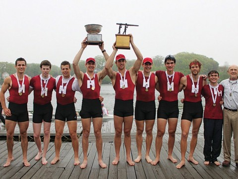 At the Eastern Sprints in Worcester, Harvard's heavyweights celebrate their win.