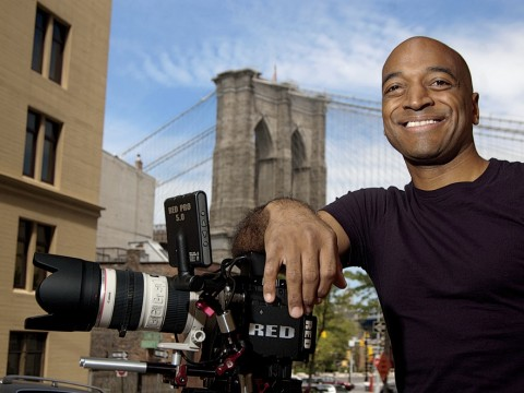 Film director Mustapha Khan near his home and studio, in the shadow of the Brooklyn Bridge