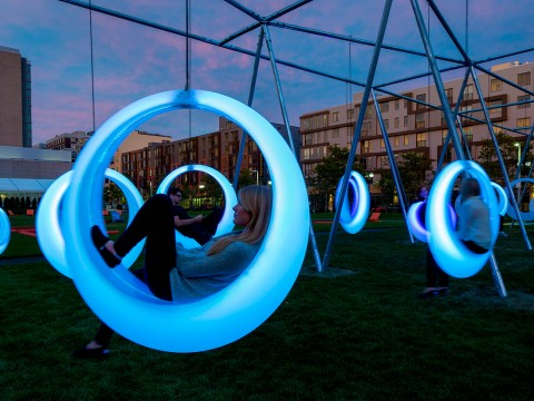 """""""Swing Time"""" is an interactive installation on Lawn on D, a park in South Boston."""