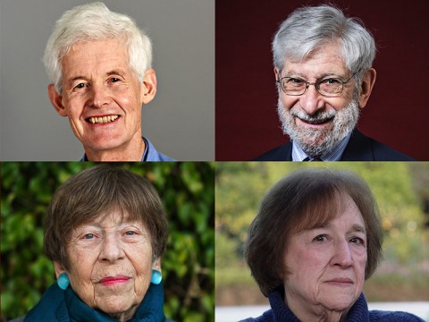 Pictured are Stephen Cook, Albert Fishlow, Helen Vendler, and Margaret Kivelson
