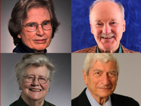 Head shots of the four Centennial Medalists: Lotte Bailyn, John Hutchinson, Marvin Kalb, and Margaret McIntosh