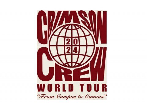 """The T-shirt designed for the College class of 2024, reading """"Crimson Crew WORLD TOUR"""" and displaying a globe-like circle labeled 2024"""