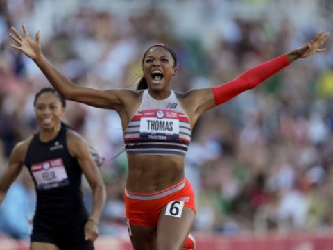 Gabby Thomas winning the 200-meter run at the U.S. Olympic Track and Field Trials.