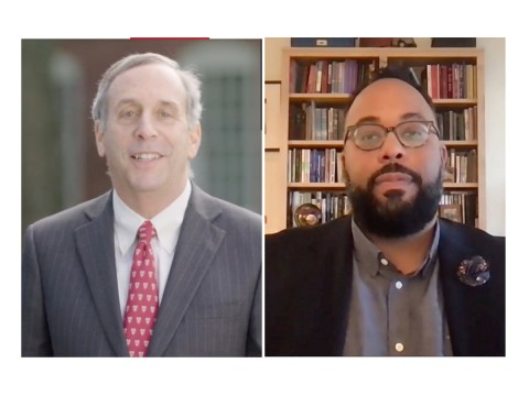 Photographs of Harvard president Lawrence S. Bacow and Harvard alumnus and guest speaker Kevin Young
