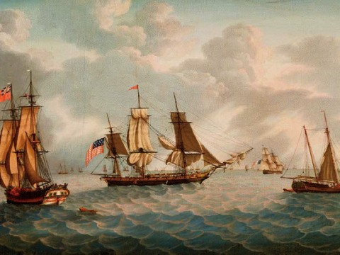 Painting of masted ships on the ocean