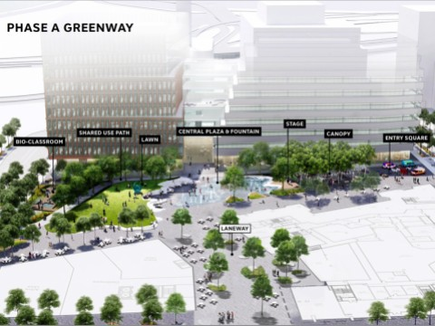 An illustrative example of what the greenway of the Enterprise Research Campus might look like