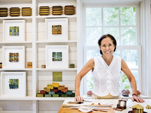Laurie Krasny Brown in her studio on Martha's Vineyard