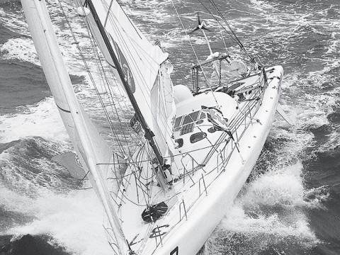 Wilson's vessel, <i>Great American III</i>. Wilson is barely visible just behind the cockpit at upper right.