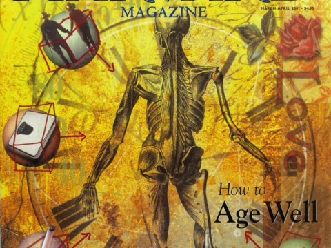 The cover from the March-April 2001 issue of Harvard Magazine with an illustration depicting an anatomical drawing of a human surrounded by the different contributions to aging well, or not.