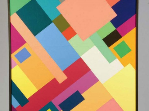 A color-paper collage used by Edwin Land to develop an influential theory of color vision