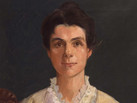 Painted portrait of Adella Hunt Logan