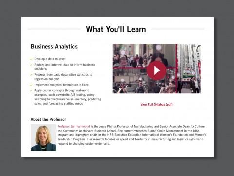 Screenshot from the Harvard Business School Online website