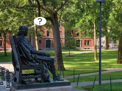 Photograph of John Harvard statue, Harvard Yard, with cartoon balloon question mark, about uncertainties surrounding the fall semester