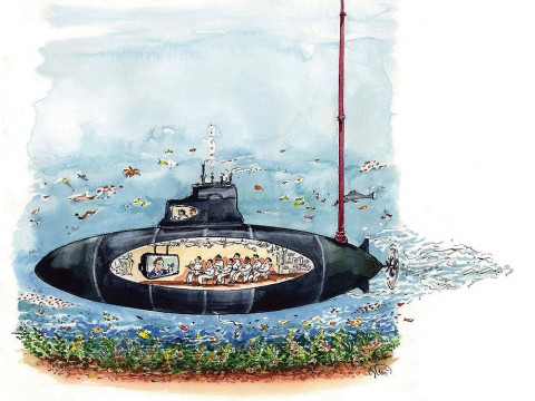 Cartoon of a submerged submarine with a cut-out view of the interior, where crew members are taking a Harvard course via video recording.